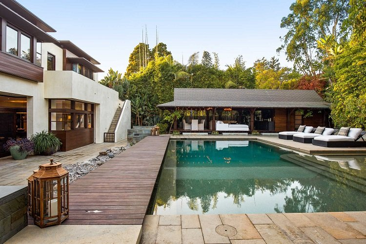 Pool and outdoor area of Matt Damon's Los Angeles home in Pacific Palisades.