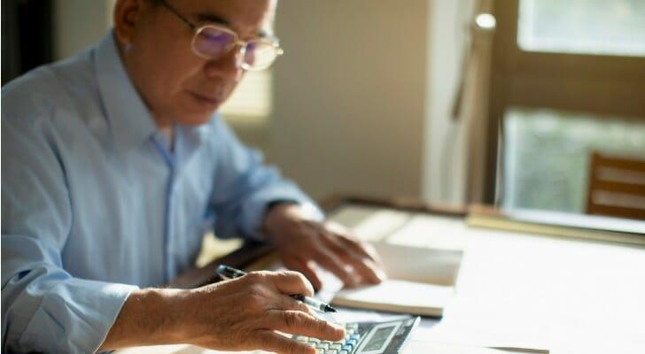 Man preparing his taxes