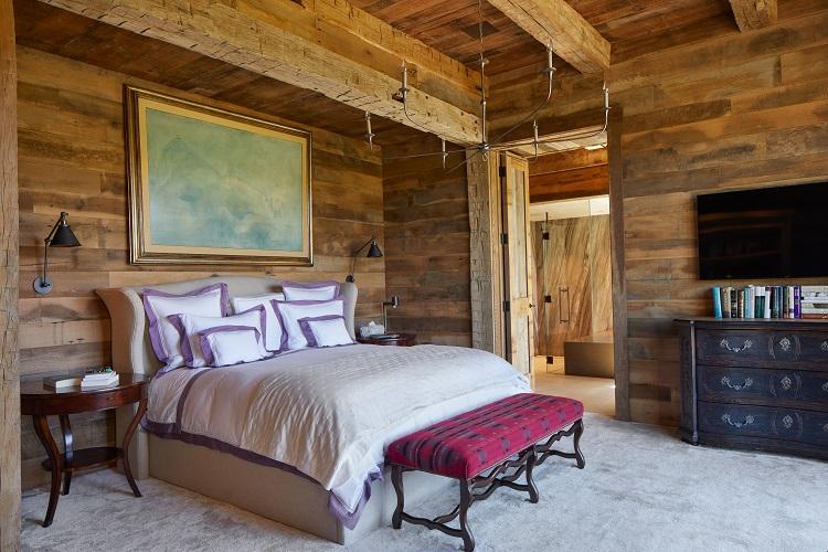 wooden bedroom of a luxury home in aspen